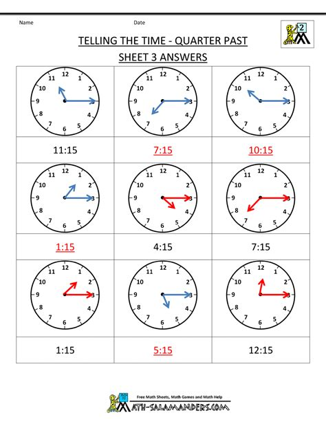 clock worksheet quarter past and quarter to