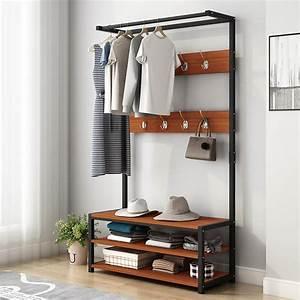32inchx67inch, Industrial, Coat, Rack, Shoe, Bench, Hall, Tree, Entryway, Storage, Shelf, Wood, Look