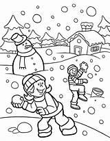 Coloring Snow Winter Pages Funny Heavy Season Fights During Santa Fight Wonderland Holidays Fun Drawings Kleurplaten Kerstman Xmas Everyone sketch template