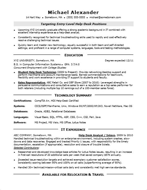 Entry Level It Resume by Entry Level It Resume Sle