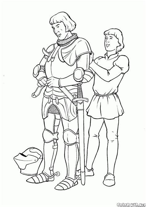 Dibujo Para Colorear  Caballero Y El Escudero