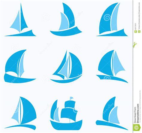 set  blue sailboat icons  white background stock