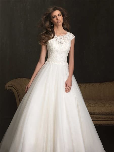 modest ball gown cap sleeve lace tulle wedding dress