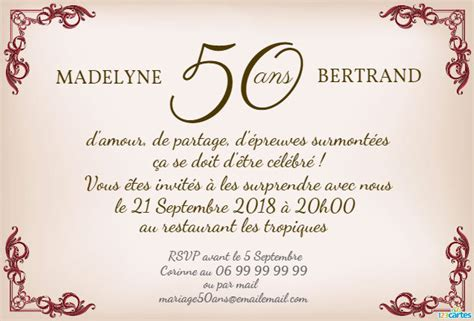 reponse invitation 50 ans de mariage modele texte invitation anniversaire 50 ans de mariage