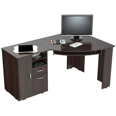 Small Corner Computer Desk Walmart by Inval Corner Computer Desk Espresso Wengue Finish