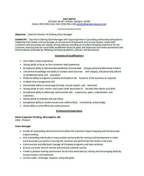 Resume For Retail Clothing Store by Assistant Store Manager Resume