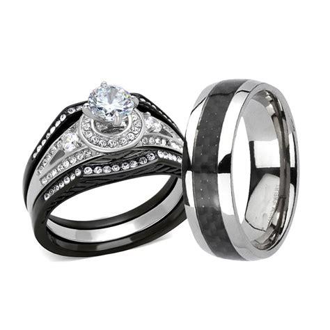 His Hers 4 Pc Black Stainless Steel & Titanium Wedding