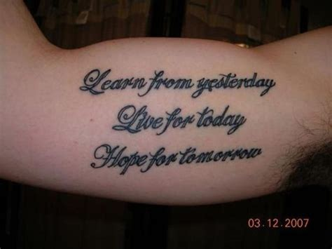 mens quote tattoo learn  yesterday   today