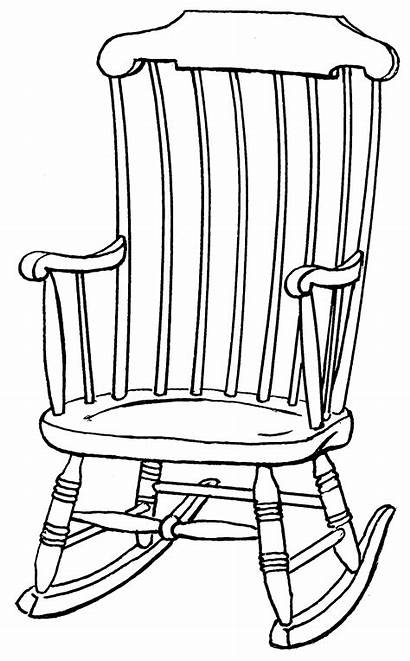 Rocking Chair Drawing Clipart Outline Coloring Drawings