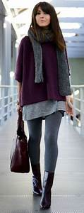 Burgundy and grey outfit. Leggings tunic and sweater. Best street style ideas 2016. Love the ...