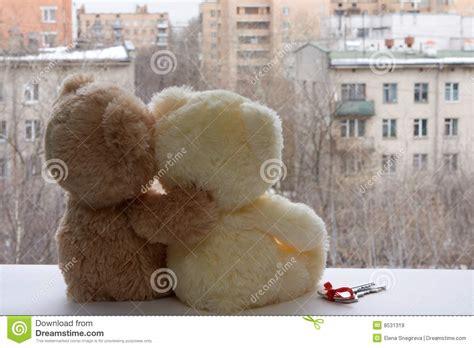 romantic pair  teddy bears dreaming royalty  stock