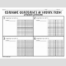 Graphing Quadratics In Vertex Form (practice Worksheet) By Lisa Davenport