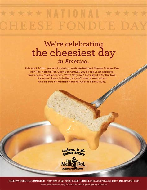 melting pot club fondue today is national cheese fondue day