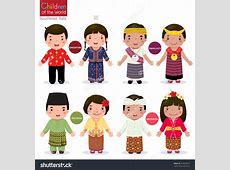 Kids in traditional costume; Singapore, Malaysia, Timor