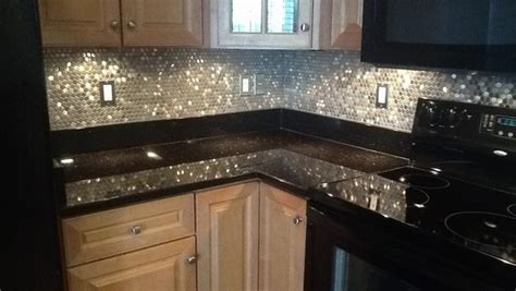 Kitchen Tile Backsplash Ideas With Dark Cabinets by Why A Penny Backsplash Is An Unique Accent In The Kitchen