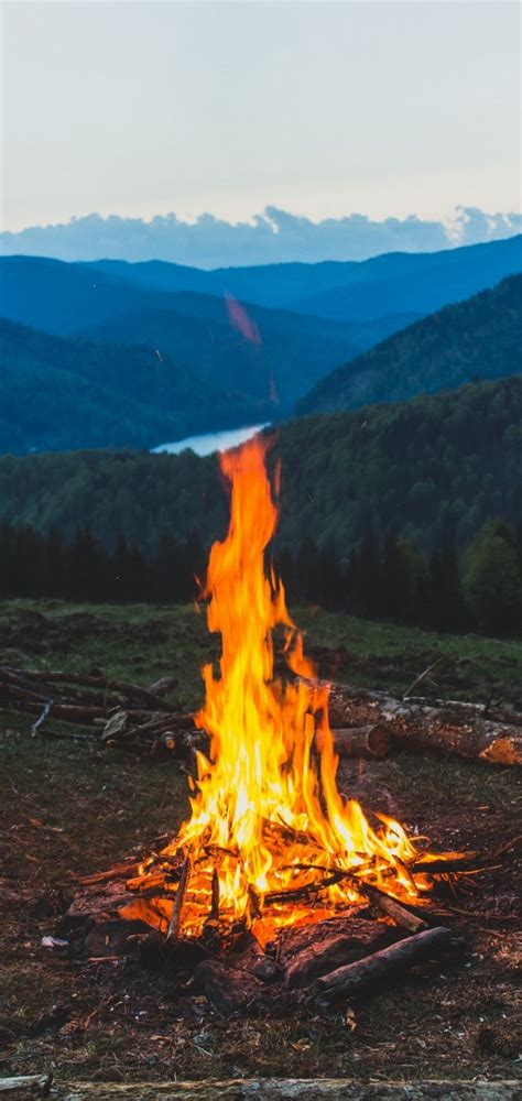 firewood campfire mountain wallpaper