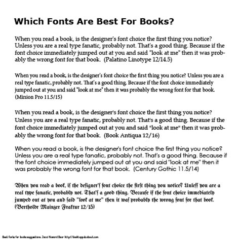 Best Fonts For Web Pages Best Fonts For Books