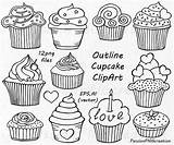 Cupcake Outline Doodle Clipart Cupcakes Clip Drawing Drawn Vector Hand Doodles Etsy Von Drawings Template Eps Draw Cliparts Personal Commercial sketch template