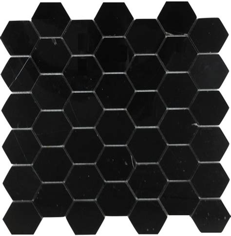 nero marquina black marble 2x2 quot hexagon polished mosaic