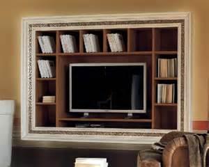 Libreria a muro con cornice intarsiata porta tv df mobili classici