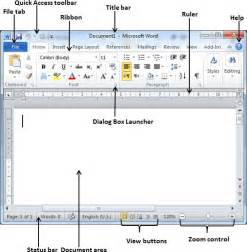 Microsoft Word 2010 Labeled Parts of a Window