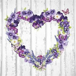 Herz Mit Blumen : ambiente servietten purple heart wei e serviette mit herz aus blumen in lila von ambiente ~ Frokenaadalensverden.com Haus und Dekorationen