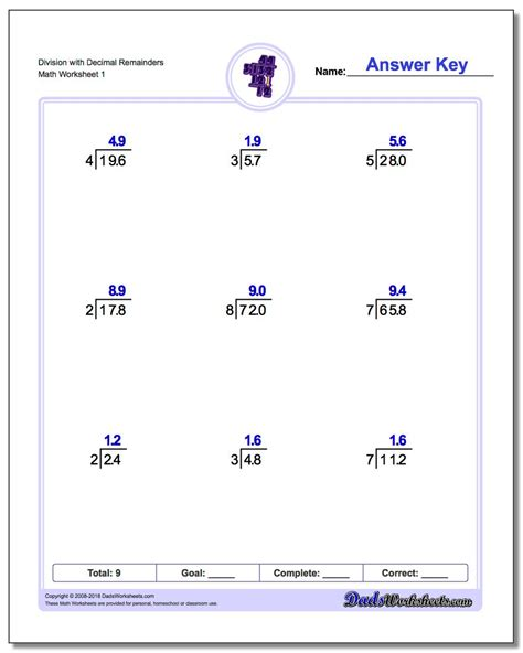 long division  decimals  dividend worksheets