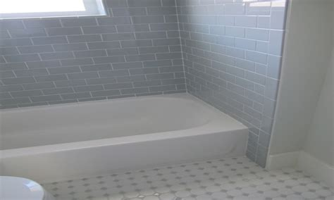 and gray bathroom with x daltile desert subway tile shower