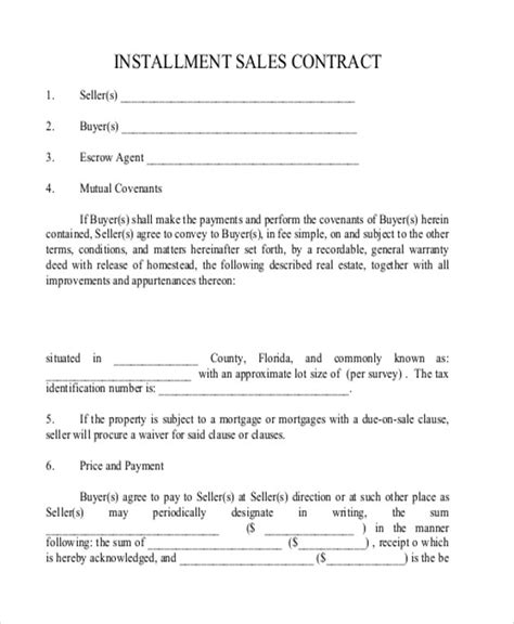 installment land contract form 12 sle installment sales contracts sle templates