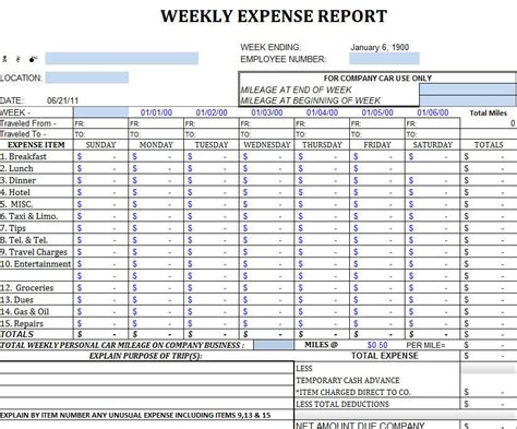 expense report template  excel office monthly