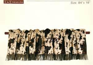 western decor brown white cow print faux fur valance