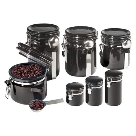black ceramic kitchen canisters oggi 7 ceramic canister set with spoons