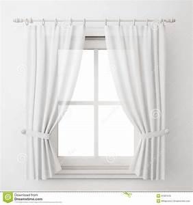 Rideau Sur Fenetre : ch ssis de fen tre blanc de vintage avec le rideau d 39 isolement sur le fond blanc illustration ~ Preciouscoupons.com Idées de Décoration
