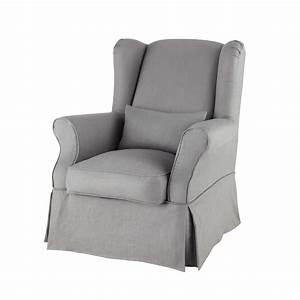 Housse De Fauteuil : housse de fauteuil en lin grise cottage maisons du monde ~ Teatrodelosmanantiales.com Idées de Décoration
