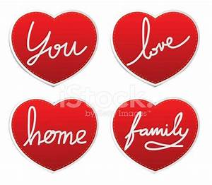 Set Icons Of Love IN Red Hearts Signs Vector Stock Photos