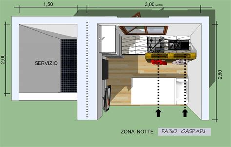 Progetto per monolocale 7mq