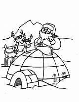 Igloo Coloring Santa Claus Visiting Bulk Bulkcolor Colouring sketch template