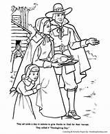 Thanksgiving Coloring Pages Feast Pilgrim Pilgrims Printable Turkey God Thanks Honkingdonkey Printables Holiday Religious Pilgram Give November sketch template