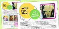 Artist Fact Sheet Andy Warhol (teacher made)