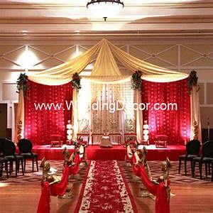 Mandap - red, gold & ivory A wedding mandap in red, gold