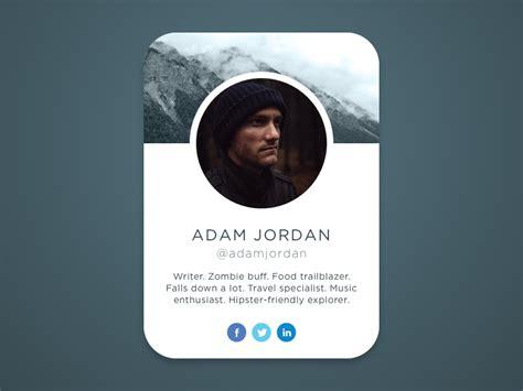 user profile card  jason kanzler  dribbble