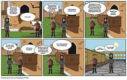 Roman Comic Strip Chariot Latin Race Storyboard