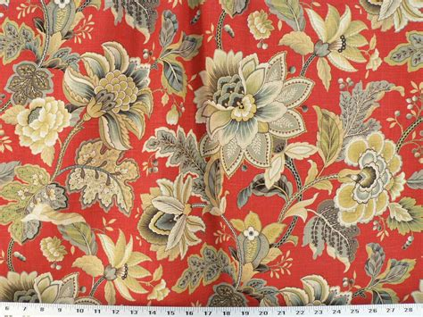 Drapery Upholstery Fabric Linen Floral Outline In Metallic