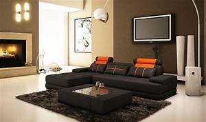 Modern living room interior design with black l shaped for L suggs interior decorating