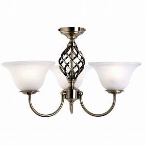 Antique brass ceiling light spiral frosted glass