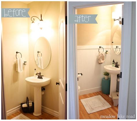 powder room redo completed small bathroom white wood