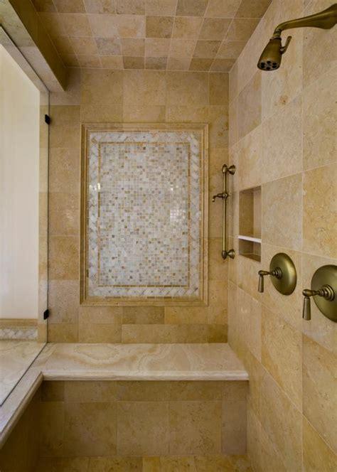 neutral tile shower  antique gold plumbing hgtv