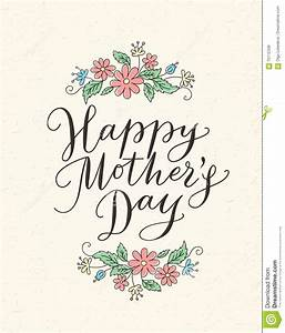 Happy Mothers Day Card With Hand Drawn Text And Flowers ...