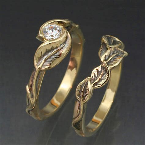 leaf engagement ring leaf and twig design ring sets the hermetic library
