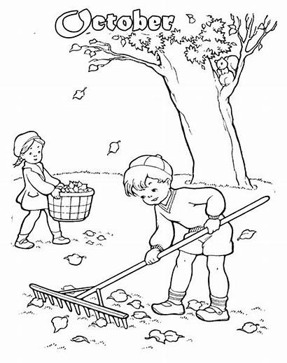 Cleaning Pages Coloring Drawing Boy Leaves Fall